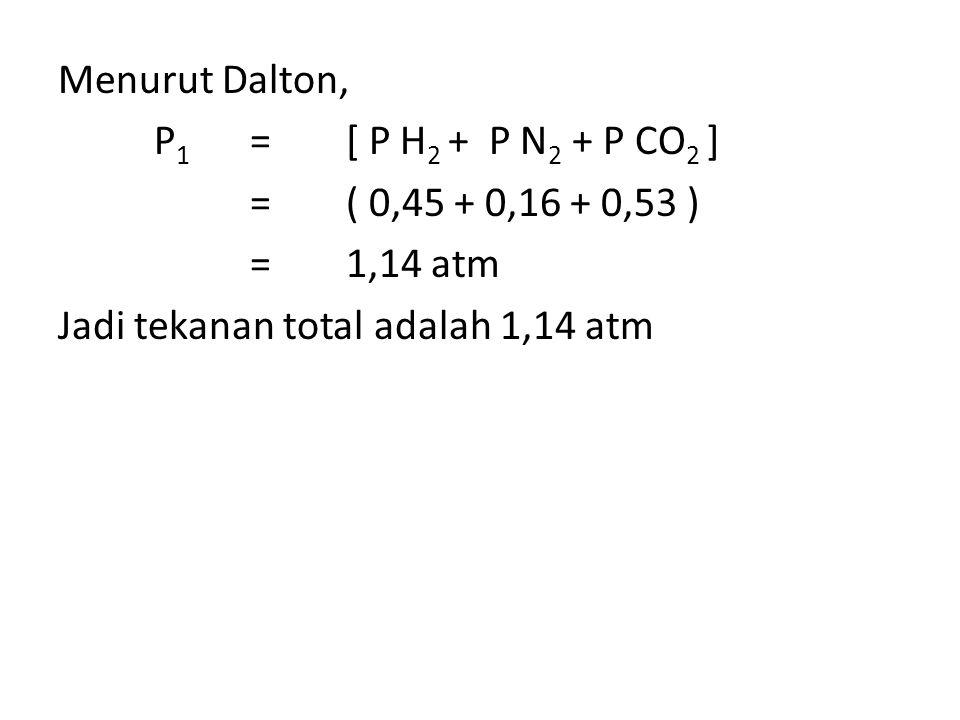 Menurut Dalton, P1 = [ P H2 + P N2 + P CO2 ] = ( 0,45 + 0,16 + 0,53 ) = 1,14 atm Jadi tekanan total adalah 1,14 atm
